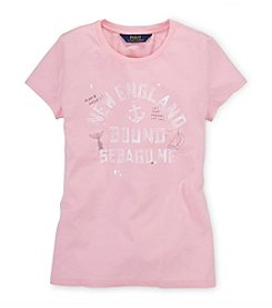 Ralph Lauren Childrenswear Girls' 7-16 Short Sleeve New England Graphic Tee
