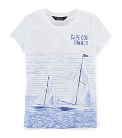Ralph Lauren Childrenswear Girls' 7-16 Short Sleeve Sailboat Graphic Tee