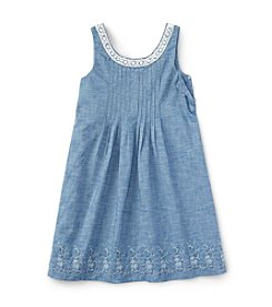 Ralph Lauren Childrenswear Girls' 7-16 Embroidered Chambray Dress