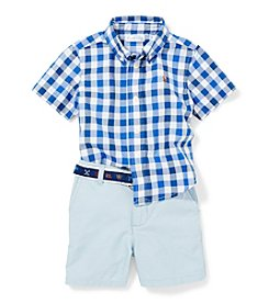 Ralph Lauren Childrenswear Baby Boys Gingham Shirt And Shorts Set