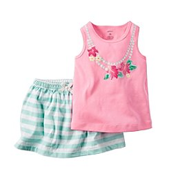 Carter's® Girls' 2T-6X Floral Necklace Printed Tank And Striped Scooter Set
