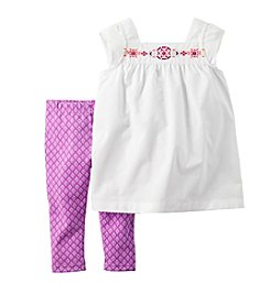 Carter's® Girls' 2T-6X Embroidered Top And Geo Printed Leggings Set