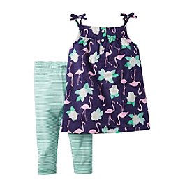 Carter's® Girls' 2T-4T Flamingo Printed Tank And Striped Leggings Set