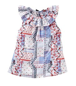 OshKosh B'Gosh® Girls' 2T-4T Bandana Printed Ruffle Collar Top