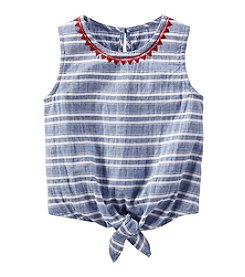 OshKosh B'Gosh® Girls' 2T-6X Striped Seersucker Tie-Front Tank