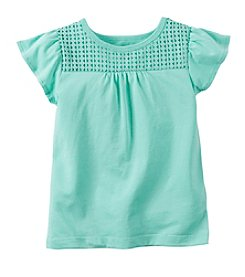 Carter's® Girls' 2T-6X Flutter Sleeve Crochet Tee