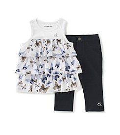 Calvin Klein Girls' 4-6X Butterfly Printed Ruffle Tank And Jeggings Set