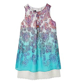 A. Byer Girls' 7-16 Printed Ombre Aline Shift Dress