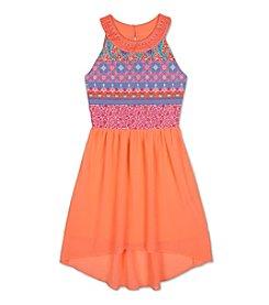 A. Byer Girls' 7-16 Printed U-Neck High-Low Dress