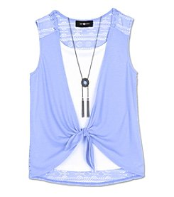 Amy Byer Girls' 7-16 Layered Tie Front Top With Necklace