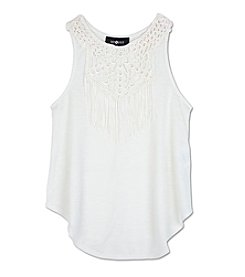 Amy Byer Girls' 7-16 Crochet And Fringe Tank