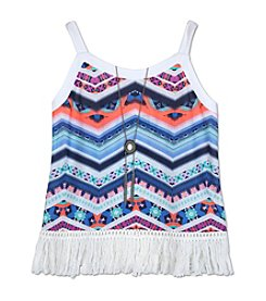 Amy Byer Girls' 7-16 Chevron Printed Fringe Tank With Necklace
