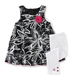 Calvin Klein Girls' 2T-6X Floral Printed Tunic And Leggings Set