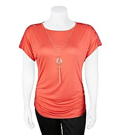 A. Byer Plus Size Lace Trim Ruched Top