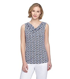 Tahari ASL® Geometric Printed Top