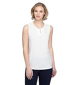 Tahari ASL® Jewel Neck Keyhole Top