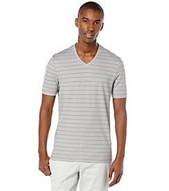 Perry Ellis® Men's Short Sleeve Striped V-Neck Tee