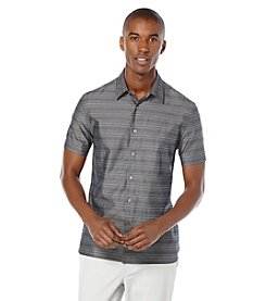 Perry Ellis® Men's Short Sleeve Horizonatal Stripe Button Down Shirt