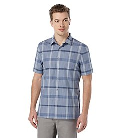 Perry Ellis® Men's Oversize Plaid Short Sleeve Button Down Shirt