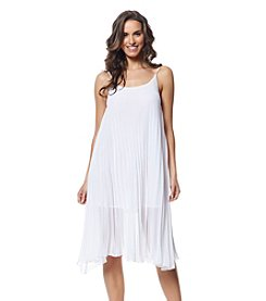 Bleu|Rod Beattie® A-Line Pleated Cover-Up Dress