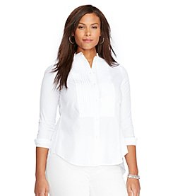 Lauren Ralph Lauren® Plus Size Pleated Bib Cotton Shirt