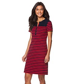 Chaps® Short Sleeve Striped Cotton Dress