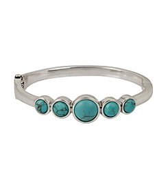 Kenneth Cole® Silvertone Semiprecious Turquoise Round Stone Hinged Bangle Bracelet