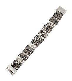 Kenneth Cole® Silvertone Woven Mixed Bead Bracelet