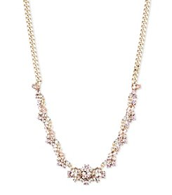 Givenchy Goldtone Vintage Rose Frontal Necklace
