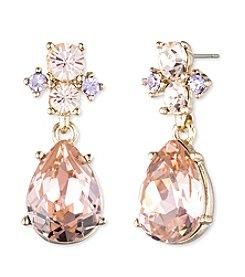Givenchy® Goldtone Vintage Rose Post Drop Earrings