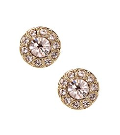 Givenchy Goldtone Silk Pave Stud Earrings