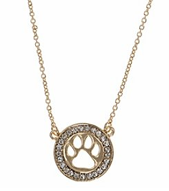 Pet Friends™ Goldtone Circle Paw Pendant Necklace