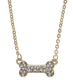 Pet Friends™ Goldtone Bone Pendant Necklace