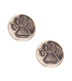 Pet Friends™ Goldtone Circle Paw Stud Earrings