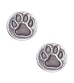 Pet Friends™ Silvertone Circle Paw Button Stud Earrings