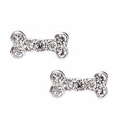 Pet Friends™ Silvertone Pave Bone Button Stud Earrings