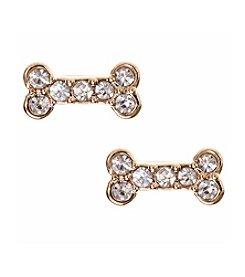 Pet Friends™ Goldtone Pave Bone Button Stud Earrings