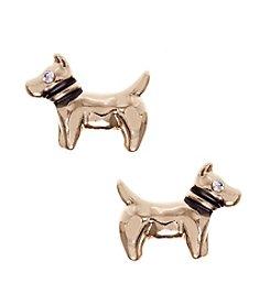 Pet Friends™ Goldtone Dog Button Stud Earrings