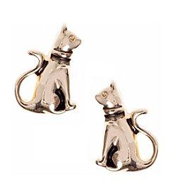 Pet Friends™ Goldtone Cat Button Stud Earrings