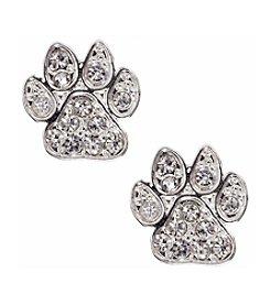 Pet Friends™ Silvertone Pave Paw Button Stud Earrings