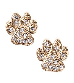 Pet Friends™ Goldtone Pave Paw Button Stud Earrings