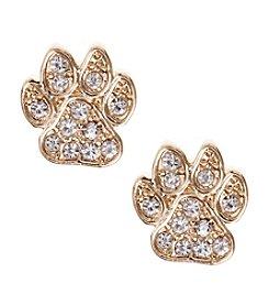 Pet Friends™ Goldtone Pave Paw Button Stud Earrings
