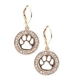 Pet Friends™ Goldtone Paw Leverback Drop Earrings