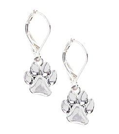 Pet Friends™ Silvertone Paw Leverback Drop Earrings