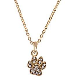 Pet Friends™ Goldtone Pave Paw Pendant Necklace