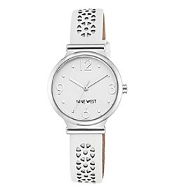 Nine West® Women's Silvertone White Perforated Strap Watch