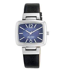 Nine West® Women's Silvertone Black Strap Watch With Blue Dial