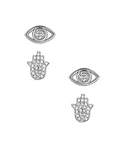 Lucky Brand Silvertone  Evil Eye Stud Earrings Set