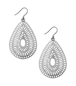 Lucky Brand® Silvertone Openwork Teardrop Earrings