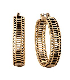 Lucky Brand® Goldtone Abstract Hoop Earrings